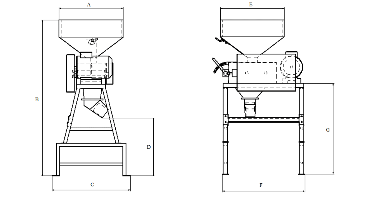 ROLLER MILL-ROLLER GRINDER WITHOUT INCORPORATED SCREW CONVEYOR